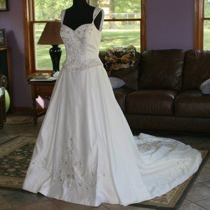 Lovely White Wedding Gown with Metallic Embroidery